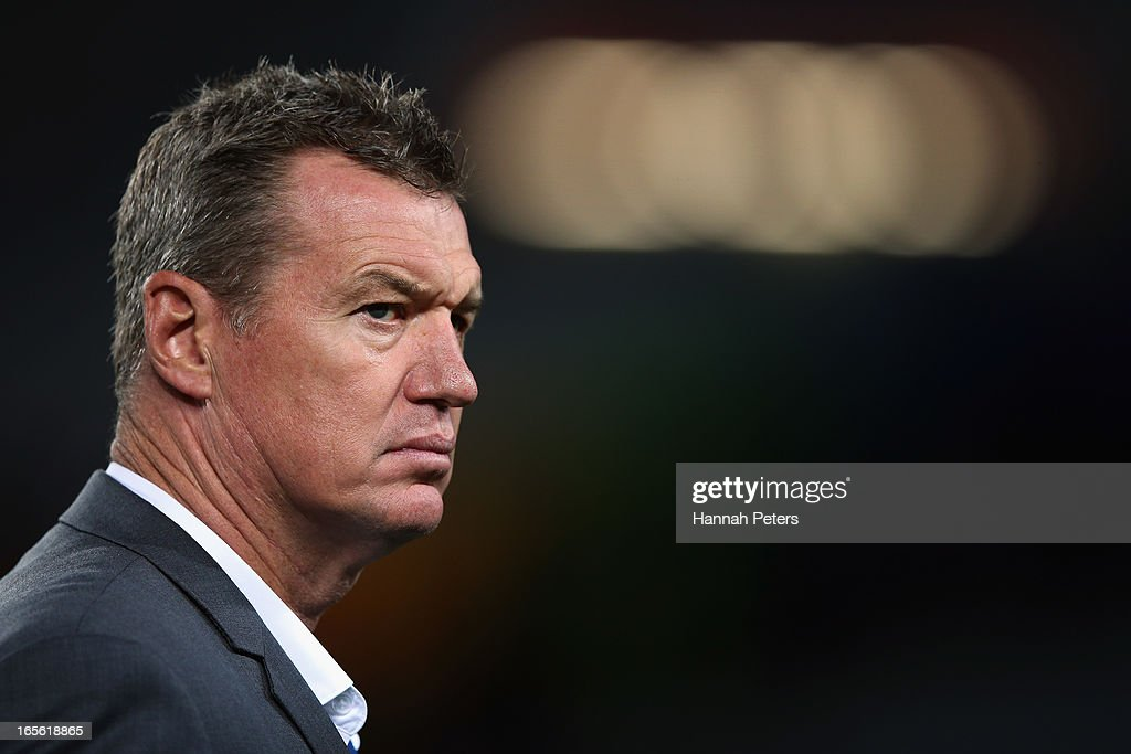 Head coach of the Blues Sir John Kirwan looks on during the round eight Super Rugby match between the Blues and the Highlanders at Eden Park on April 5, 2013 in Auckland, New Zealand.