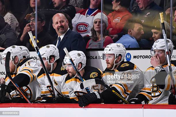 Head coach of the Boston Bruins Claude Julien looks on during the NHL game against the Montreal Canadiens at the Bell Centre on December 12 2016 in...