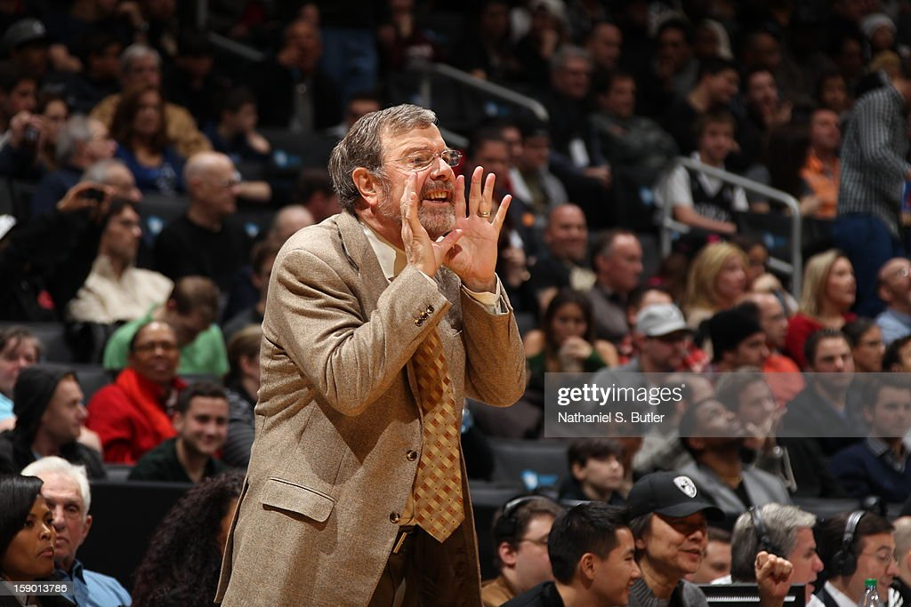 Head coach of the Brooklyn Nets P.J. Carlesimo calls out a play in the game against the Sacramento Kings on January 5, 2013 at the Barclays Center in the Brooklyn borough of New York City.