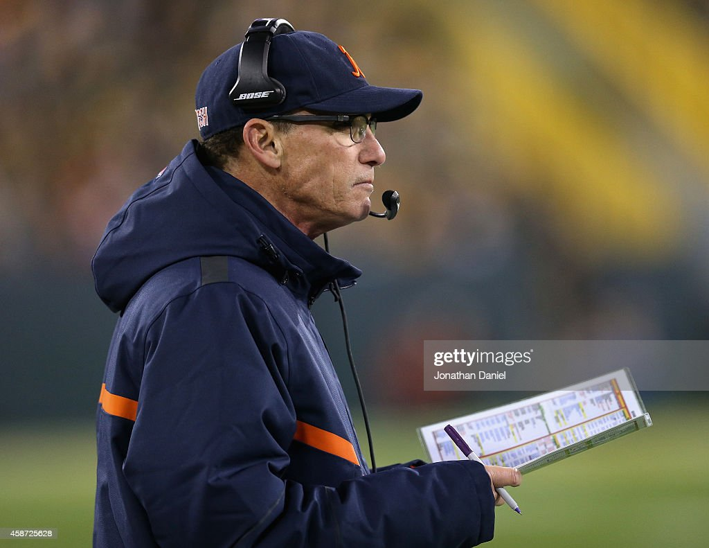 Head coach of the Chicago Bears, <a gi-track='captionPersonalityLinkClicked' href=/galleries/search?phrase=Marc+Trestman&family=editorial&specificpeople=2769711 ng-click='$event.stopPropagation()'>Marc Trestman</a>, watches as the Bears trail behind the Green Bay Packers in the first half of the game at Lambeau Field on November 9, 2014 in Green Bay, Wisconsin.