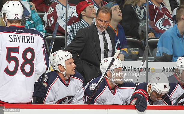 Head Coach of the Columbus Blue Jackets John Tortorella talks to his bench as his team tries to earn their first win of the season at the Pepsi...