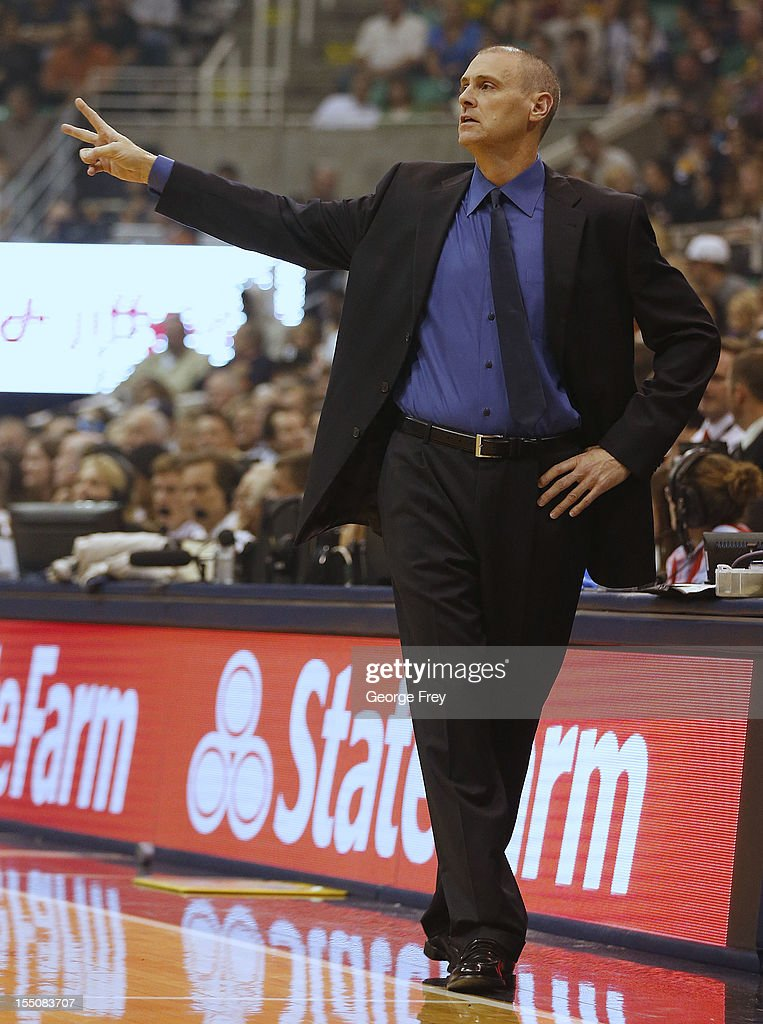 Head coach of the Dallas Mavericks, Rick Carlisle, calls a play during a game against the Utah Jazz during the first half of an NBA game October 31, 2012 at EnergySolution Arena in Salt Lake City, Utah.