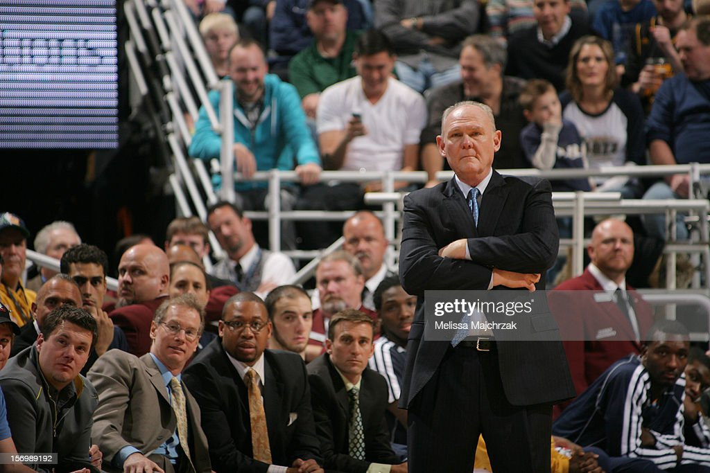 Head Coach of the Denver Nuggets <a gi-track='captionPersonalityLinkClicked' href=/galleries/search?phrase=George+Karl&family=editorial&specificpeople=204519 ng-click='$event.stopPropagation()'>George Karl</a> looks on from the sidelines during play against the Utah Jazz at Energy Solutions Arena on November 26, 2012 in Salt Lake City, Utah.