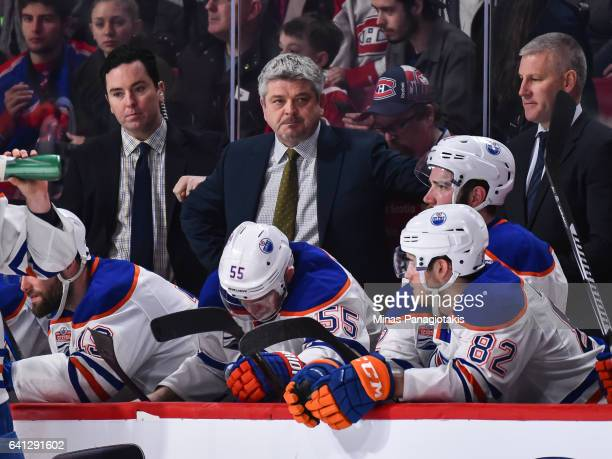 Head coach of the Edmonton Oilers Todd McLellan looks on during the NHL game against the Montreal Canadiens at the Bell Centre on February 5 2017 in...