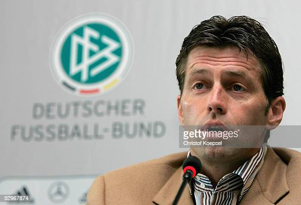Head coach of the German national men's under 20 squad Michael Skibbe smiles during the press conference to announce the German national squad for...