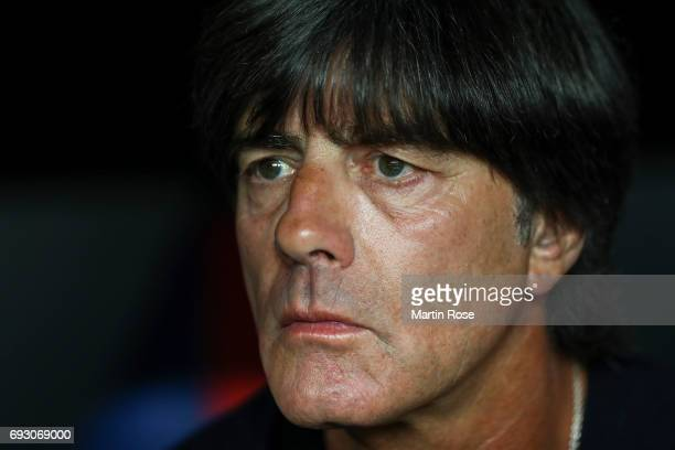 Head coach of the German national team Joachim Loew looks on prior the international friendly match between Denmark v Germany on June 6 2017 in...