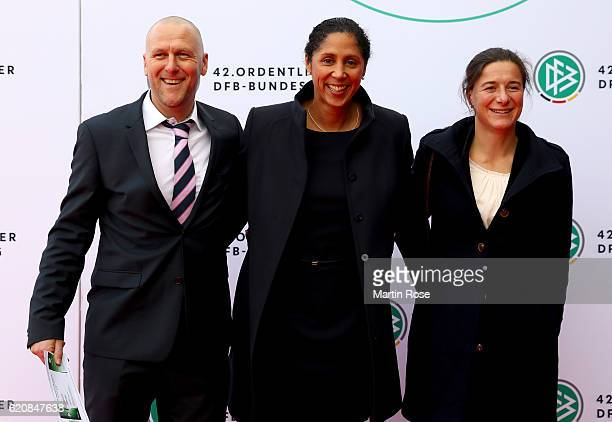 Head coach of the German Women's National Team Steffi Jones and her assistant trainer Verena Hagedorn and Marco Hoegner arrive for the ceremonial act...