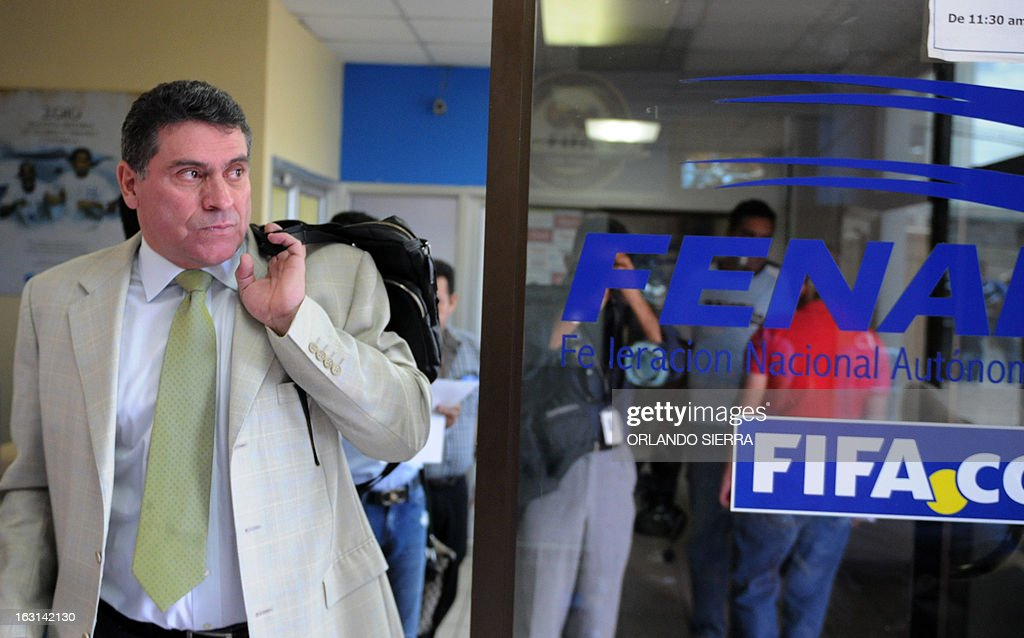 Head coach of the Honduran national football team, Colombian Luis Fernando Suarez, leaves the offices of the Honduran National Football Federation on March 5, 2013, after announcing the player list for their FIFA World Cup Brazil 2014 qualifying match against Mexico next March 22. AFP PHOTO/Orlando SIERRA