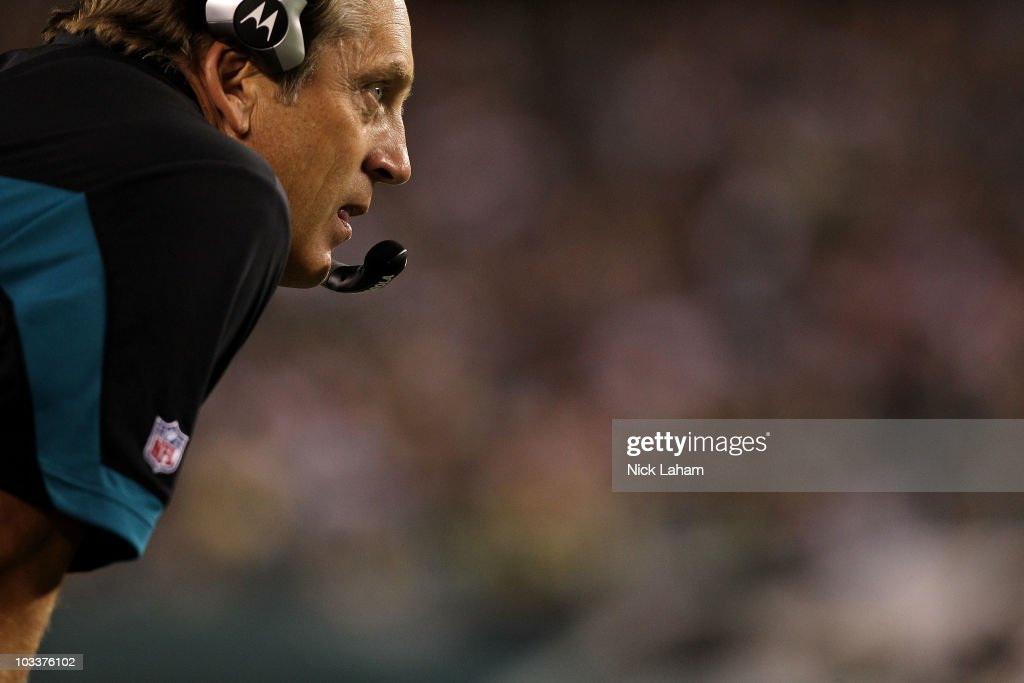 Head coach of the Jacksonville Jaguars, <a gi-track='captionPersonalityLinkClicked' href=/galleries/search?phrase=Jack+Del+Rio&family=editorial&specificpeople=184508 ng-click='$event.stopPropagation()'>Jack Del Rio</a> looks on from the sideline against the Philadelphia Eagles during their preseason game at Lincoln Financial Field on August 13, 2010 in Philadelphia, Pennsylvania.