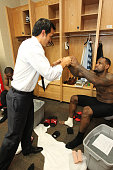 Head Coach of the Miami Heat Erik Spoelstra and LeBron James after defeating the Oklahoma City Thunder in Game Two of the 2012 NBA Finals at...