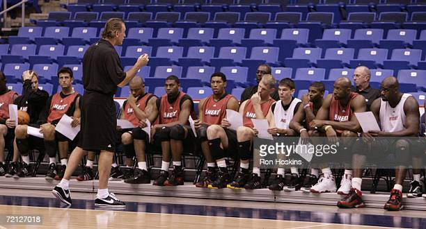 Head coach of the Miami Heat Pat Riley addresses his team at Coliseo De Puerto Rico Arena on October 9 2006 in San Juan Puerto Rico NOTE TO USER User...