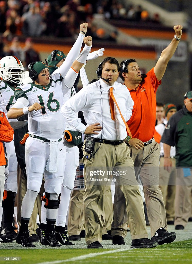 Head coach of the Miami Hurricanes <a gi-track='captionPersonalityLinkClicked' href=/galleries/search?phrase=Al+Golden&family=editorial&specificpeople=6315572 ng-click='$event.stopPropagation()'>Al Golden</a> reacts on the sideline in the first half against the Virginia Tech Hokies at Lane Stadium on October 23, 2014 in Blacksburg, Virginia. Miami defeated Virginia Tech 30-6.
