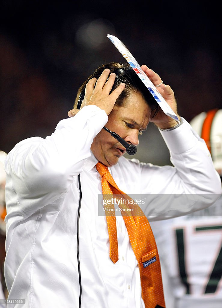 Head coach of the Miami Hurricanes <a gi-track='captionPersonalityLinkClicked' href=/galleries/search?phrase=Al+Golden&family=editorial&specificpeople=6315572 ng-click='$event.stopPropagation()'>Al Golden</a> reacts to a call in the first half against the Virginia Tech Hokies at Lane Stadium on October 23, 2014 in Blacksburg, Virginia. Miami defeated Virginia Tech 30-6.
