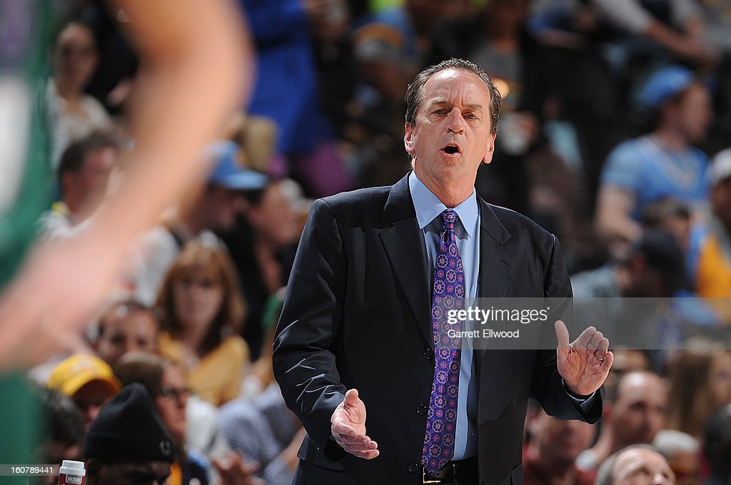 Head Coach of the Milwaukee Bucks Jim Boylan gives direction from the beach to his team versus the Denver Nuggets on February 5, 2013 at the Pepsi Center in Denver, Colorado.