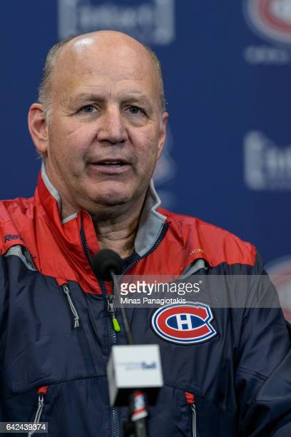 Head coach of the Montreal Canadiens Claude Julien addresses the media during the Montreal Canadiens practice session at the Bell Sports Complex on...