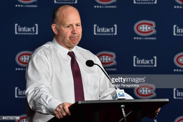 Head coach of the Montreal Canadiens Claude Julien addresses the media after losing his first match with the team during the NHL game against the...