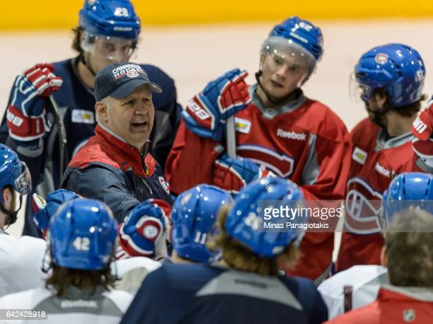 Head coach of the Montreal Canadiens Claude Julien instructs his team during the Montreal Canadiens practice session at the Bell Sports Complex on...