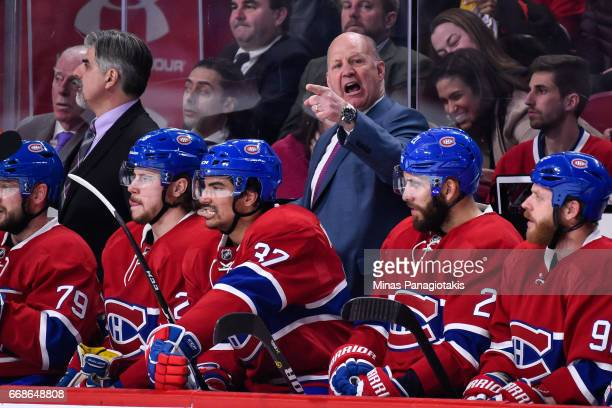 Head coach of the Montreal Canadiens Claude Julien is furious on a call by the referee against the New York Rangers in Game Two of the Eastern...