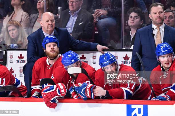 Head coach of the Montreal Canadiens Claude Julien looks on against the New York Rangers in Game Five of the Eastern Conference First Round during...
