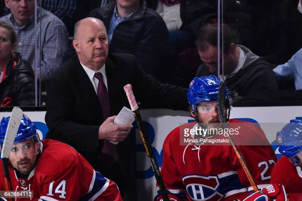 Head coach of the Montreal Canadiens Claude Julien looks on during the NHL game against the Winnipeg Jets at the Bell Centre on February 18 2017 in...