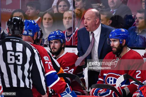 Head coach of the Montreal Canadiens Claude Julien reacts to a call in Game One of the Eastern Conference First Round during the 2017 NHL Stanley Cup...