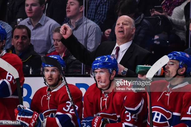 Head coach of the Montreal Canadiens Claude Julien yells out instructions during the NHL game against the Winnipeg Jets at the Bell Centre on...