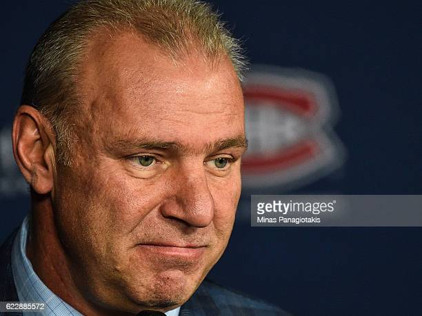 Head coach of the Montreal Canadiens Michel Therrien addresses the media after the NHL game against the Detroit Red Wings at the Bell Centre on...