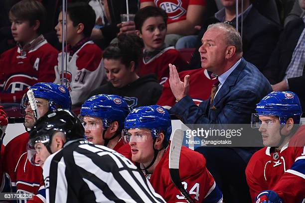 Head coach of the Montreal Canadiens Michel Therrien calls for the referee during the NHL game against the New York Rangers at the Bell Centre on...