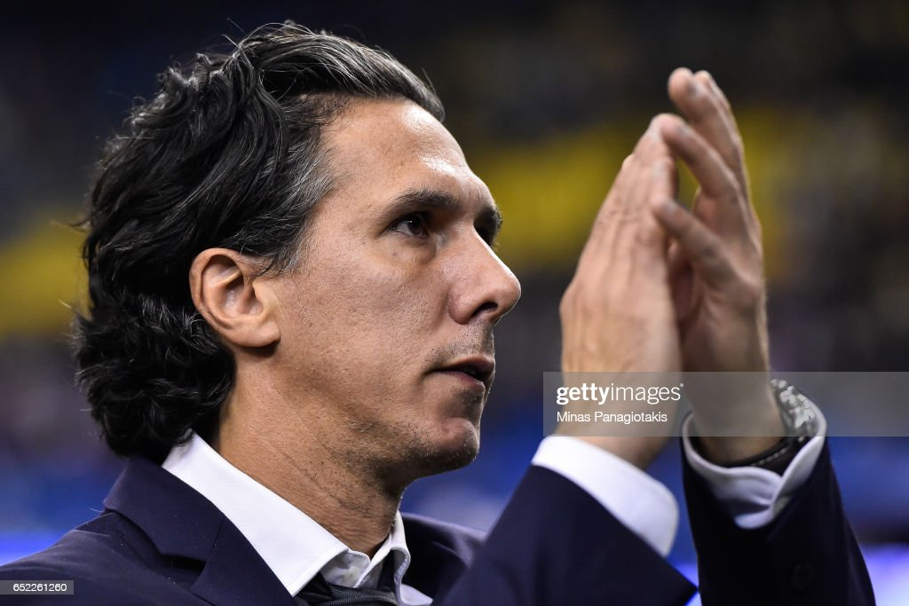 Head coach of the Montreal Impact Mauro Biello claps during the MLS game against the Seattle Sounders FC at Olympic Stadium on March 11, 2017 in Montreal, Quebec, Canada. The Seattle Sounders FC and the Montreal Impact end up in a 2-2 draw.