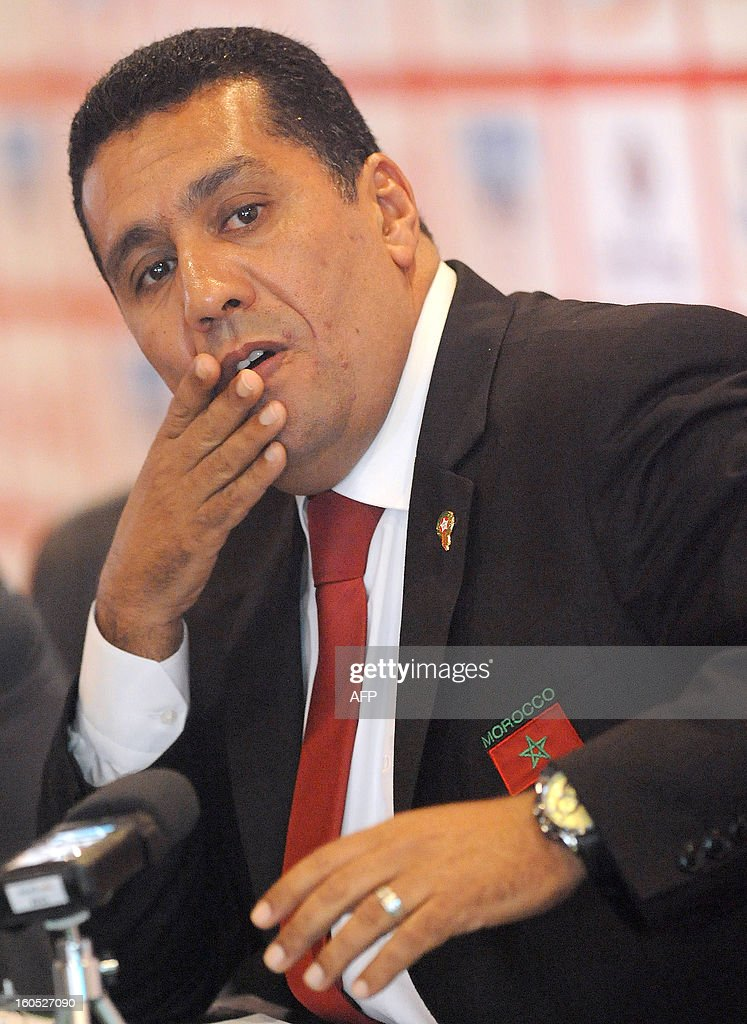 Head coach of the Moroccan national football team, Rachid Taoussi speaks during a press conference to comment on his team results in the Africa Cup of Nations in Rabat on January 2, 2013. South Africa fought back twice to draw 2-2 with Morocco in a Group A thriller on January 27, 2013 and qualified for the Africa Cup of Nations quarter-finals. AFP PHOTO/FADEL SENNA