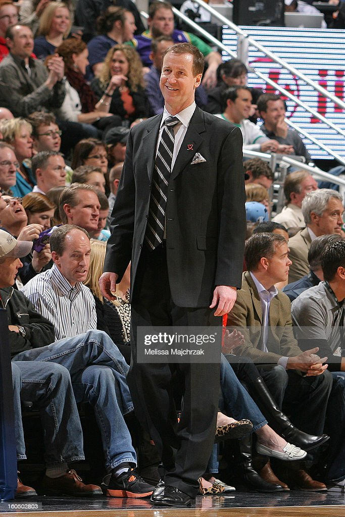 Head Coach of the Portland Trail Blazers, <a gi-track='captionPersonalityLinkClicked' href=/galleries/search?phrase=Terry+Stotts&family=editorial&specificpeople=653534 ng-click='$event.stopPropagation()'>Terry Stotts</a> watches from the sidelines during play against the Utah Jazz at Energy Solutions Arena on February 01, 2013 in Salt Lake City, Utah.