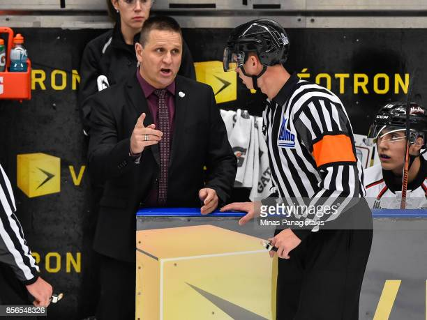 Head coach of the RouynNoranda Huskies Gilles Bouchard discusses a call with the referee against the BlainvilleBoisbriand Armada during the QMJHL...