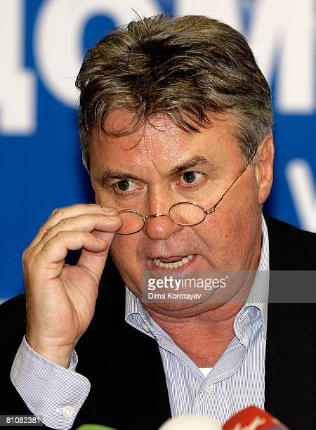 Head coach of the Russian national football team Guus Hiddink attends a press conference at the House of Football on May 14 2008 in Moscow Russia...