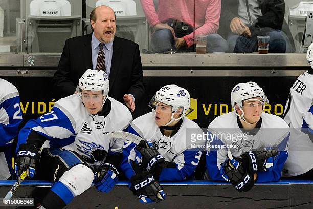 Head coach of the Saint John Sea Dogs Danny Flynn instructs his team during the QMJHL game against the BlainvilleBoisbriand Armada at the Centre...