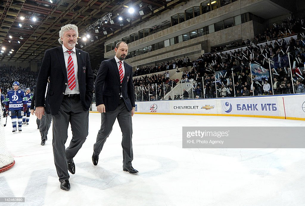 Head coach of the SKA Milos Riha and coach Sergei Zubov exit the arena after the playoff game between SKA St. Petersbourg and Dinamo Moscow during the KHL Championship 2011/2012 on April 3, 2012 at the Arena Luzhniki in Moscow, Russia. The Dinamo won 6-1.