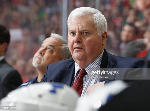 Head coach of the St Louis Blues Ken Hitchcock watches on during the game against the Calgary Flames at Scotiabank Saddledome on March 17 2015 in...