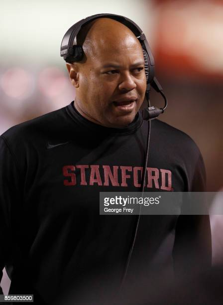 Head coach of the Stanford Cardinal David Shaw walks the sideline during the second half of an college football game against the Utah Utes on October...