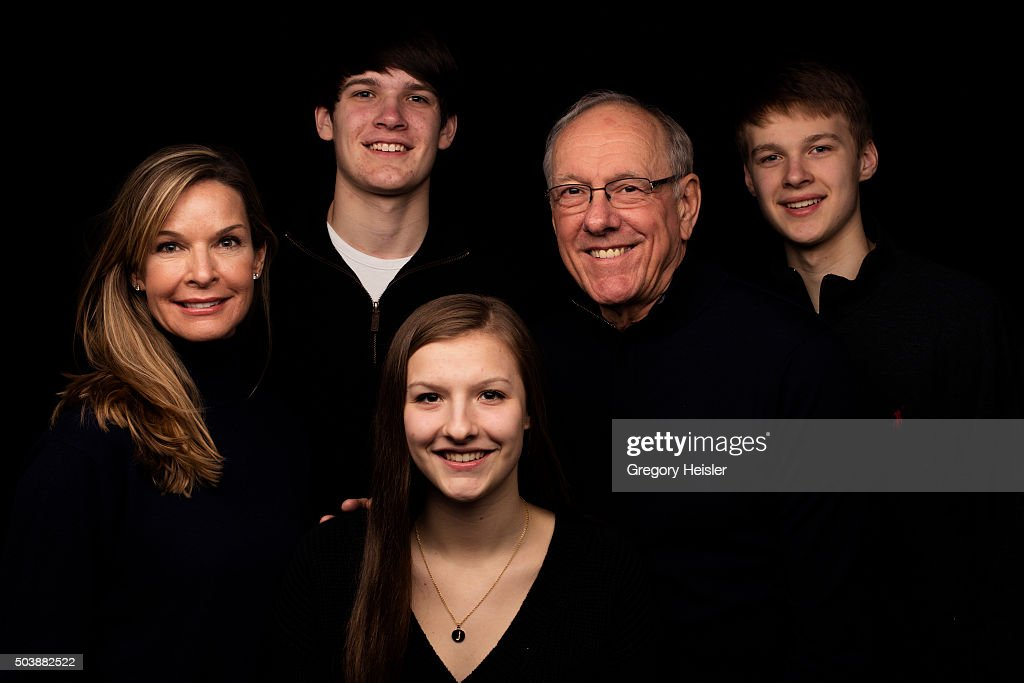 Head coach of the Syracuse men's basketball team, <a gi-track='captionPersonalityLinkClicked' href=/galleries/search?phrase=Jim+Boeheim&family=editorial&specificpeople=210990 ng-click='$event.stopPropagation()'>Jim Boeheim</a> and wife Juli are photographed with sons Jimmy and Jack, and daughter Jamie for Sports Illustrated on December 12, 2015 in DeWitt, New York. Boeheim is serving a 9-game suspension, a penalty for violating NCAA rules.