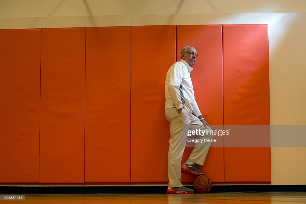 Head coach of the Syracuse men's basketball team, <a gi-track='captionPersonalityLinkClicked' href=/galleries/search?phrase=Jim+Boeheim&family=editorial&specificpeople=210990 ng-click='$event.stopPropagation()'>Jim Boeheim</a> is photographed for Sports Illustrated on December 12, 2015 in his at home basketball court in DeWitt, New York. Boeheim is serving a 9-game suspension, a penalty for violating NCAA rules.