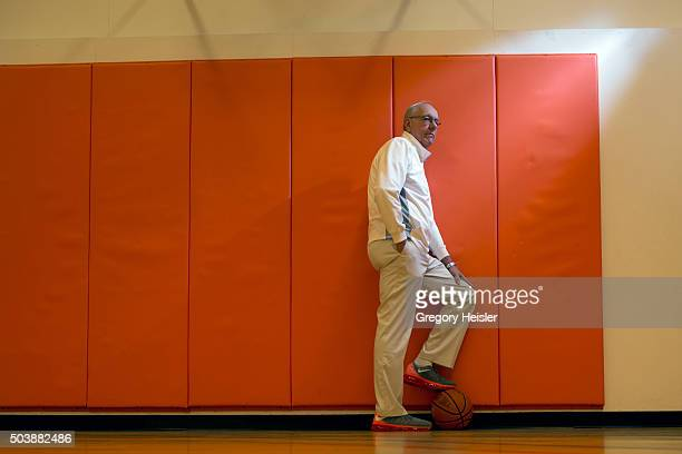 Head coach of the Syracuse men's basketball team Jim Boeheim is photographed for Sports Illustrated on December 12 2015 in his at home basketball...
