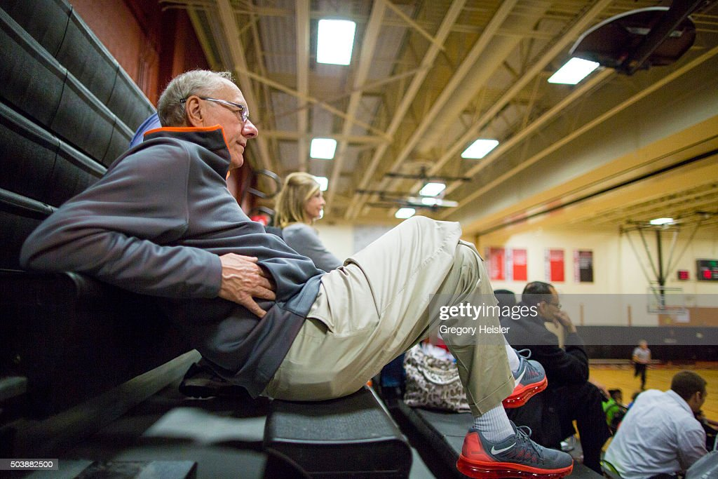 Head coach of the Syracuse men's basketball team, <a gi-track='captionPersonalityLinkClicked' href=/galleries/search?phrase=Jim+Boeheim&family=editorial&specificpeople=210990 ng-click='$event.stopPropagation()'>Jim Boeheim</a> is photographed for Sports Illustrated on December 11, 2015 in Syracuse, New York. He and his wife Juli watching his son's Jamesville-DeWitt High team play vs Fowler at Fowler High School gym. Boeheim is serving a 9-game suspension, a penalty for violating NCAA rules. Gregory Heisler/Sports Illustrated/Contour by Getty Images.