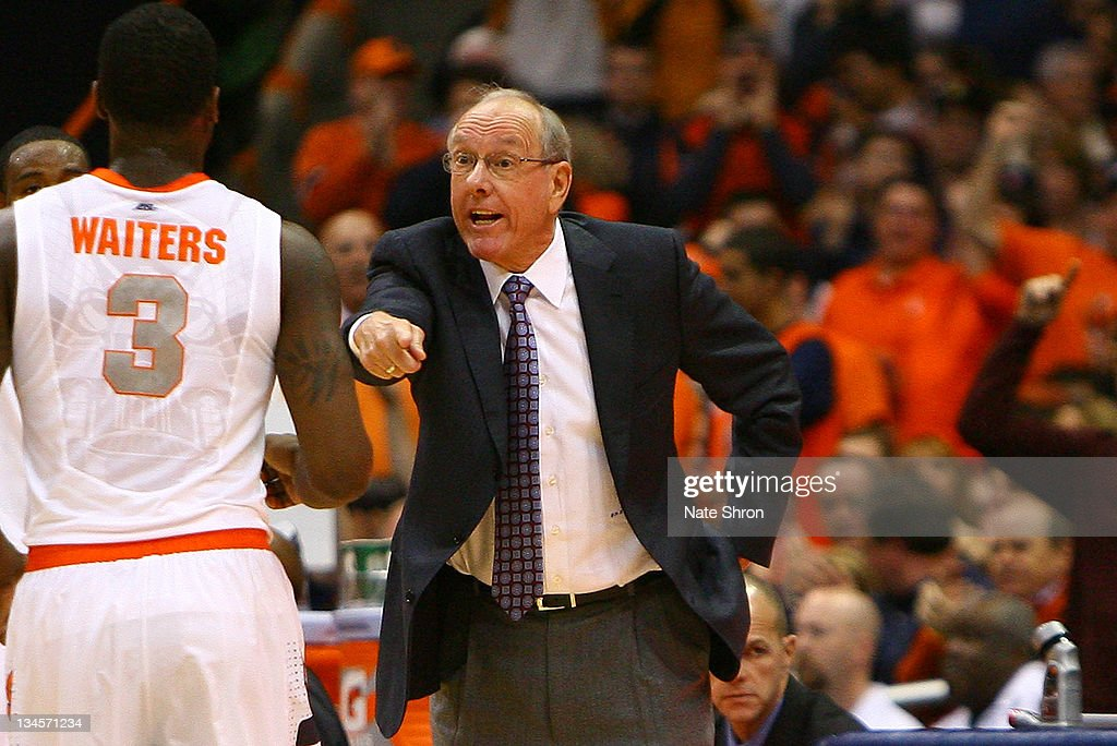 Head coach of the Syracuse Orange, <a gi-track='captionPersonalityLinkClicked' href=/galleries/search?phrase=Jim+Boeheim&family=editorial&specificpeople=210990 ng-click='$event.stopPropagation()'>Jim Boeheim</a> yells to <a gi-track='captionPersonalityLinkClicked' href=/galleries/search?phrase=Dion+Waiters&family=editorial&specificpeople=6902921 ng-click='$event.stopPropagation()'>Dion Waiters</a> #3 from the sideline during the game against the Florida Gators at the Carrier Dome on December 2, 2011 in Syracuse, New York.