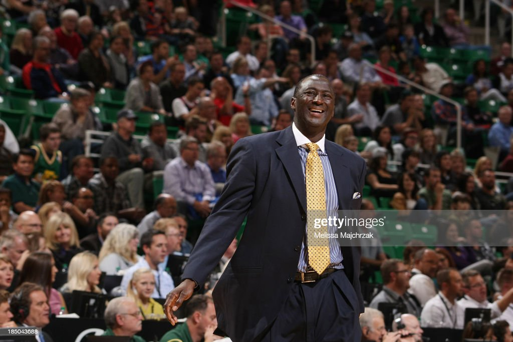 Head Coach of the Utah Jazz, Tyrone Corbin smiles during play against the Portland Trail Blazers at EnergySolutions Arena on October 16, 2013 in Salt Lake City, Utah.