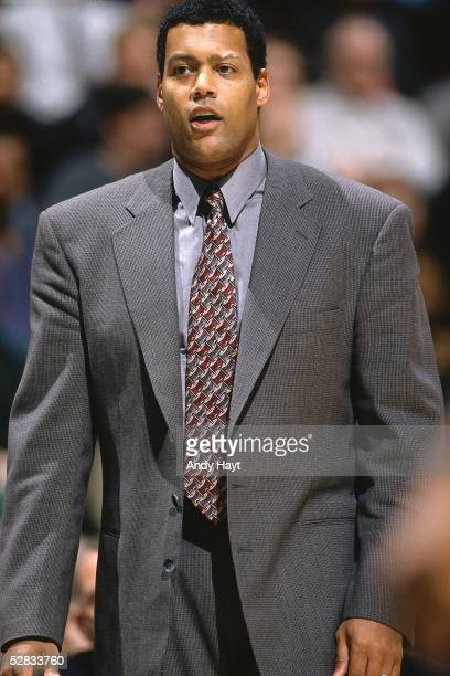 Head Coach of the Vancouver Grizzlies Stu Jackson looks on during an NBA game against the Chicago Bulls on January 28 1997 in Vancouver British...