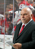 Head Coach of the Washington Capitals Barry Trotz looks on during warmups prior to his game against the Philadelphia Flyers on November 12 2015 at...