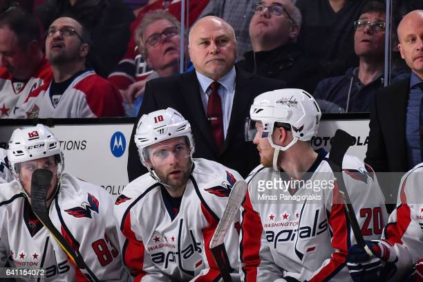 Head coach of the Washington Capitals Barry Trotz looks on during the NHL game against the Montreal Canadiens at the Bell Centre on February 4 2017...