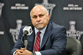 Head Coach of the Washington Capitals Barry Trotz speaks to the media after his defeated the Philadelphia Flyers 61 in Game Three of the Eastern...