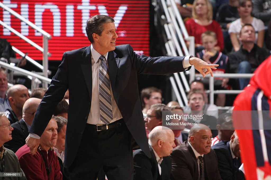 Head Coach of the Washington Wizards, Randy Wittman calls out a play from the sidelines during play against the Utah Jazz at Energy Solutions Arena on January 23, 2013 in Salt Lake City, Utah.