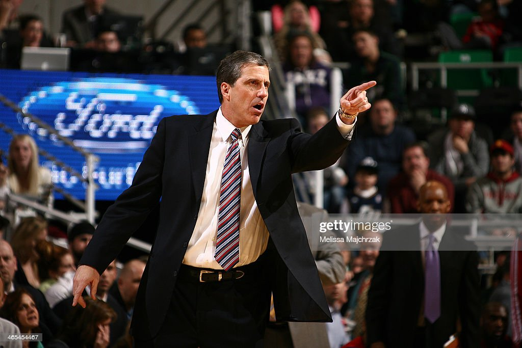 Head coach of the Washington Wizards, <a gi-track='captionPersonalityLinkClicked' href=/galleries/search?phrase=Randy+Wittman&family=editorial&specificpeople=679109 ng-click='$event.stopPropagation()'>Randy Wittman</a> reacts from the sidelines during play against the Utah Jazz at EnergySolutions Arena on January 25, 2014 in Salt Lake City, Utah.