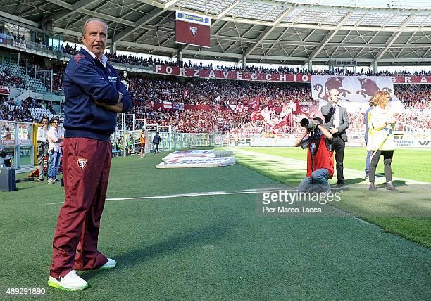 Head Coach of Torino FC Giampiero Ventura looks on during the Serie A match between Torino FC and UC Sampdoria at Stadio Olimpico di Torino on...